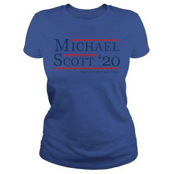 Michael Scott for President 2020 shirt Premium Fitted Ladies Tee