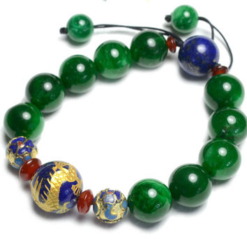 Golden Imperial Flying Fortune Dragon  Green Jade Bracelet - Fortune Feng Shui Gemstone Jewellery