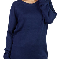 LE3NO Womens Round Neck Raglan Knit Sweater with Zipper on Shoulder (CLEARANCE)