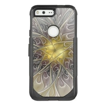Flourish With Gold Modern Abstract Fractal Flower OtterBox Commuter Google Pixel Case