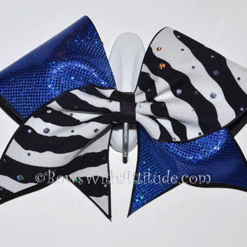 "3"" Wide Luxury Cheer Bow - Blue Shimmer / Zebra Sparkle Flip Flop"