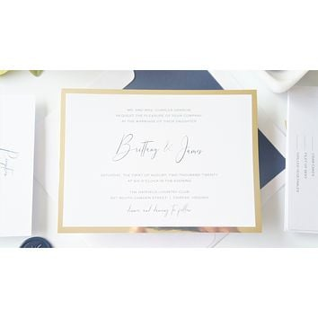 Navy Blue and Gold Vellum and Wax Seal Wedding Invitation - SAMPLE SET