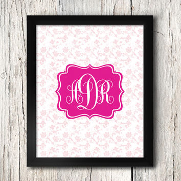 Monogram Art / Custom Monogram / Pink / 8x10 inch / Baby Girl / Girl's Room Decor / Nursery Monogram / Dorm Room Decor