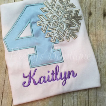 Girls Frozen birthday shirt, winter birthday shirt, winter theme shirt, snowflake shirt, snowflake gown, snowflake girl clothing