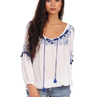 Vintage Havana Embroidered Pom Pom Peasant Top