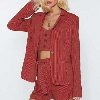 It's Your Line Pinstripe Tailored Blazer