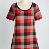 Vintage Inspired Mid-length Short Sleeves High-Low Hem By and Lodge Top in Red Plaid by ModCloth