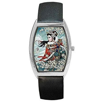 Traditional Oriental/ Asian Lady Apple Blossoms on Womens Barrel Watch with Leather Band