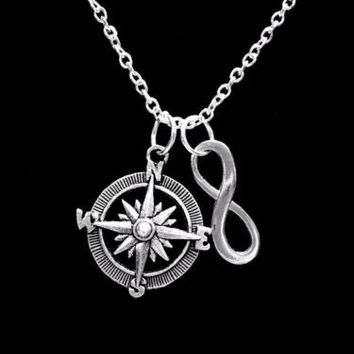 Infinity Compass Direction Sister Best Friends Charm Necklace