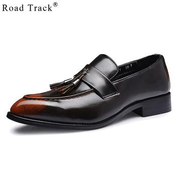 Road Track Spring Casual Leather Shoes Men's Tassels Shoes Pointed Toe Men's Slip-on Shoe