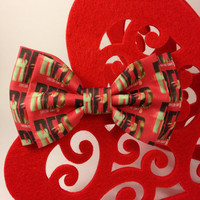 RED Album Cover Handmade Double Bow Hair Clip