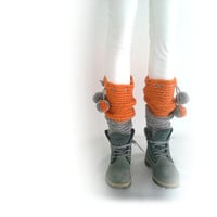 Pippi's 2 Color Knee High Leg Warmers, with Optional Pompoms, Silver Orange, Crochet Reversible, Fall Winter Fashion, for Her, Warm Cozy