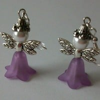 Purple Fairie Earrings on Silver Wires