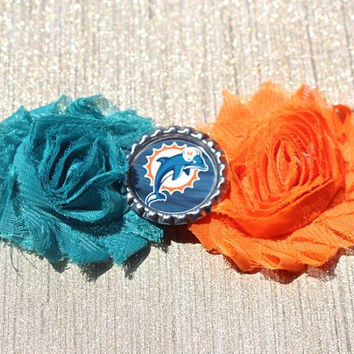 NFL Miami Dolphins inspired headband- perfect for football season!  Miami Dolphins Baby Headband, Miami Dolphins Girl Headband