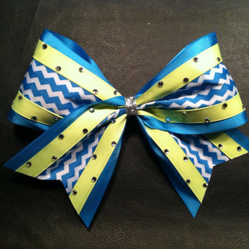 Neon blue chevron and neon yellow bling 3 inch cheerleader cheer bow