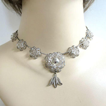 Sterling Silver Filigree Flowers Necklace Vintage with Fleur de Lis