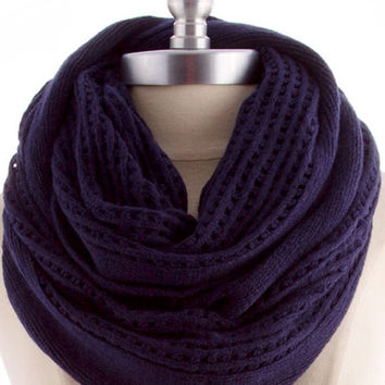 Men Scarf For Men Infinity scarf   Unisex Scarf Navy Blue Knit Scarf Gifts for Dad Gifts for Boss Autumn Gifts Guide - By PiYOYO