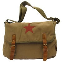 Red star canvas leather laptop messenger bag for women