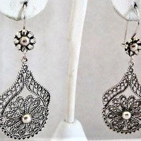 Sterling Pierced Earrings, Dangle Drop Ear Wires, Open Work Filigree, Signed Turkey DGS