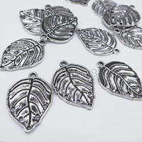 Tibetan silver leaf charms - antique silver plant bead charms - silver plated alloy charms - bead charms for jewelry making -20 pcs