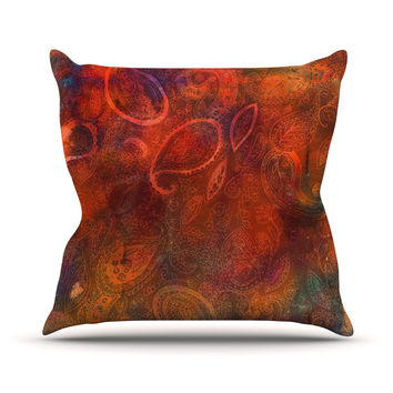"Nikki Strange ""Tie Dye Paisley"" Orange Red Throw Pillow"
