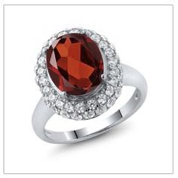 Natural Red Garnet, 4.51 Ct Oval, Sterling Silver ring, Vintage Ring, Fine Jewelry