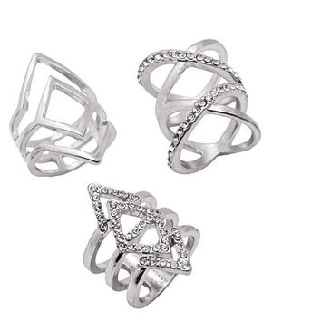 Multilayer Geometric Ring Crystal  Rings For Women