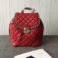 Michael Kors Women's Medium Carine Quilted Leather Leather Backpack( red)