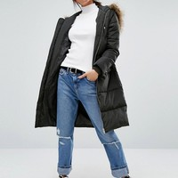 New Look Faux Fur Padded Coat at asos.com