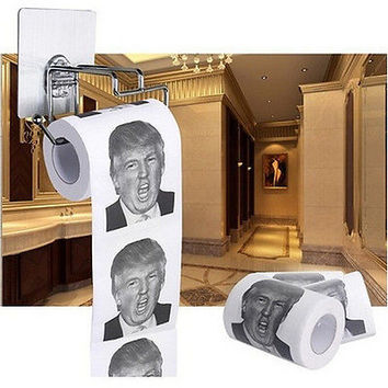 1/5X Donald Trump Humour Toilet Paper Roll Novelty Gag Gift Dump With Trump