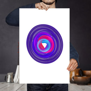 Psychedelic Toroid Art Print - Purple Vibrant Spiral Vortex - Printable Circle Poster | Abstract Geometric Wall Art | Eclectic Home