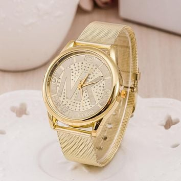 MK Women Men Fashion Quartz Round Watches Wrist Watch