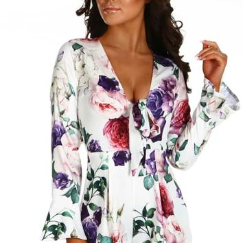 Sweet Loving White Multi Floral Frill Long Sleeve Playsuit