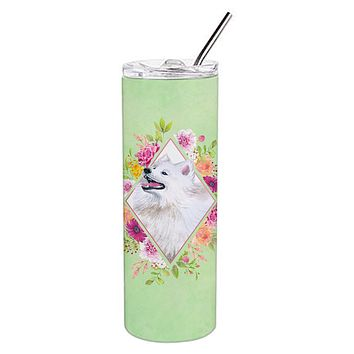 Samoyed Green Flowers Double Walled Stainless Steel 20 oz Skinny Tumbler CK4337TBL20