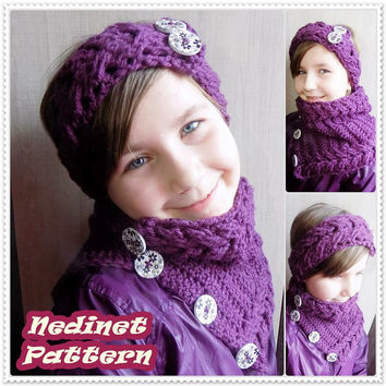 Crochet pattern, Crochet Headband and Cowl pattern, Cable stitch, Cowl scarf pattern, Child cowl scarf pattern, Woman cowl scarf, PATTERN