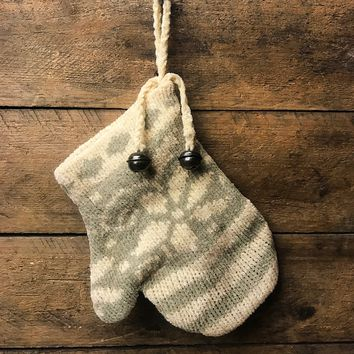 Knit Green and White Mitten Ornament
