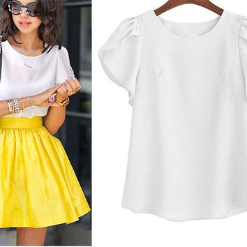 Women's White Ruffle Butterfly Sleeve Classic Solid Short Sleeve Blouse