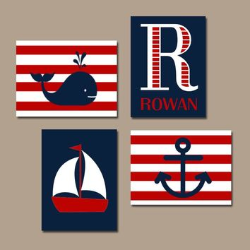 NAUTICAL Nursery Wall Art, Nautical Canvas or Print, Sailboat Whale Anchor, Baby Boy Nursery Decor, Red Navy, Set of 4 Crib Decor Wall Decor