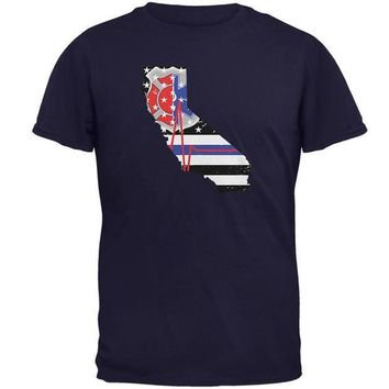 PEAPGQ9 California First Responder Thin Blue Line Flag Mens T Shirt