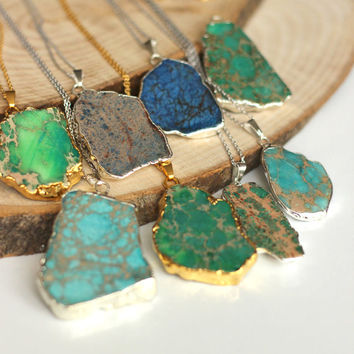 OOAK Natural variscite slab necklace, variscite slice necklace, gold or silver electroplated a perfect gift wedding, christmas, mother's day