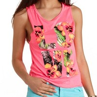 TROPICAL LOVE NEON GRAPHIC MUSCLE TEE