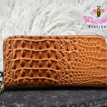 Embossed Dual Compartment Wristlet Wallet