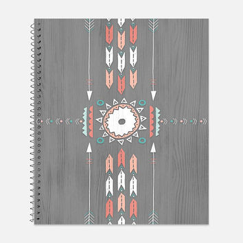 Grey and Peach Tribal Pattern Notebook, Waterproof Cover, Southwestern Notebook or Journal, Office Supplies, School Supplies, College Ruled