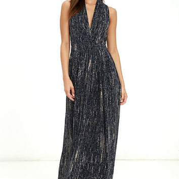 Rockbound Coast Navy Blue Print Maxi Dress