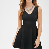 FOREVER 21 Diamond-Embossed A-Line Dress Black