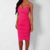 Oracle Pink Textured Wrap Effect Bodycon Midi Dress | Pink Boutique