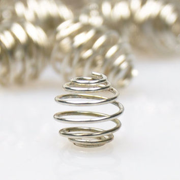 25 Pieces Matte Silver Spiral Wire Beads, Metal Spacer Beads, Jewelry Findings, Jewelry Making Supply