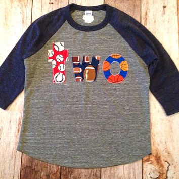 Sports balls two birthday shirt navy grey Boys Birthday Shirt 2 Year Old  2nd Birthday raglan basball football basketball party favors cake