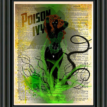 Poison Ivy Print - Batman art - Vintage pop art  - Retro Super Hero Art - Dictionary print art