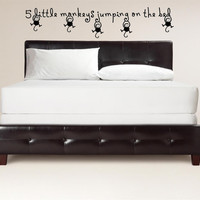 Boys Girls Nursery Room 5 little monkeys jumping on the bed Large Wall Decal Vinyl Wall Art Quote Lettering Inspirational Wall Mural